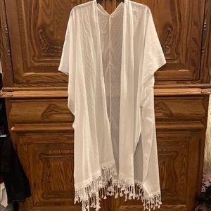 White swim suit cover
